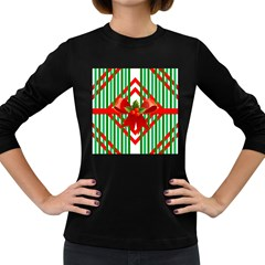 Christmas Gift Wrap Decoration Red Women s Long Sleeve Dark T-Shirts