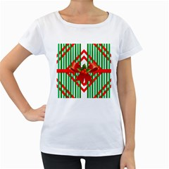 Christmas Gift Wrap Decoration Red Women s Loose-Fit T-Shirt (White)