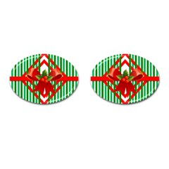 Christmas Gift Wrap Decoration Red Cufflinks (Oval)