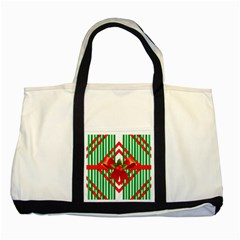 Christmas Gift Wrap Decoration Red Two Tone Tote Bag