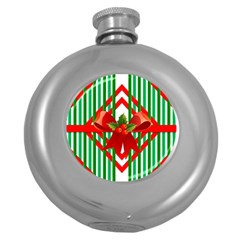 Christmas Gift Wrap Decoration Red Round Hip Flask (5 oz)