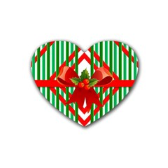 Christmas Gift Wrap Decoration Red Heart Coaster (4 pack)