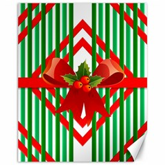 Christmas Gift Wrap Decoration Red Canvas 11  x 14