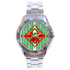Christmas Gift Wrap Decoration Red Stainless Steel Analogue Watch