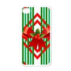 Christmas Gift Wrap Decoration Red Apple iPhone 4 Case (White)