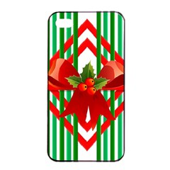 Christmas Gift Wrap Decoration Red Apple iPhone 4/4s Seamless Case (Black)