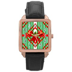 Christmas Gift Wrap Decoration Red Rose Gold Leather Watch