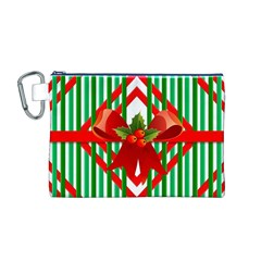 Christmas Gift Wrap Decoration Red Canvas Cosmetic Bag (m)