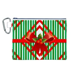 Christmas Gift Wrap Decoration Red Canvas Cosmetic Bag (L)