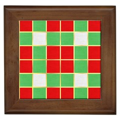 Christmas Fabric Textile Red Green Framed Tiles