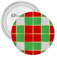 Christmas Fabric Textile Red Green 3  Buttons