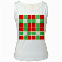 Christmas Fabric Textile Red Green Women s White Tank Top