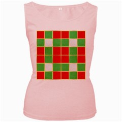 Christmas Fabric Textile Red Green Women s Pink Tank Top