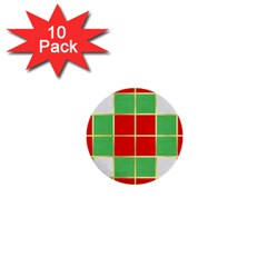Christmas Fabric Textile Red Green 1  Mini Buttons (10 pack)
