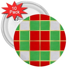 Christmas Fabric Textile Red Green 3  Buttons (10 pack)