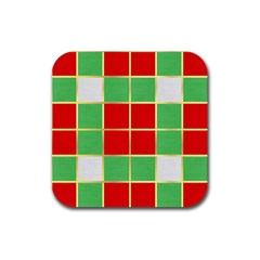 Christmas Fabric Textile Red Green Rubber Coaster (Square)