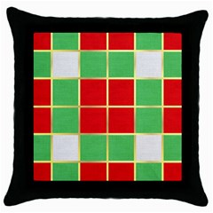 Christmas Fabric Textile Red Green Throw Pillow Case (Black)
