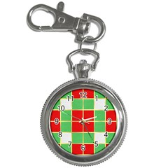 Christmas Fabric Textile Red Green Key Chain Watches