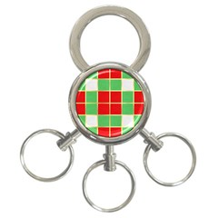 Christmas Fabric Textile Red Green 3-Ring Key Chains