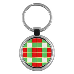 Christmas Fabric Textile Red Green Key Chains (Round)