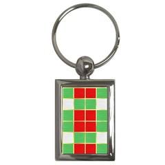 Christmas Fabric Textile Red Green Key Chains (Rectangle)