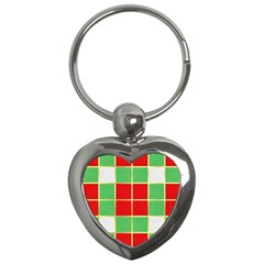 Christmas Fabric Textile Red Green Key Chains (heart)