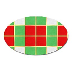 Christmas Fabric Textile Red Green Oval Magnet
