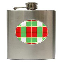 Christmas Fabric Textile Red Green Hip Flask (6 oz)
