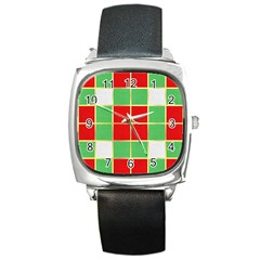 Christmas Fabric Textile Red Green Square Metal Watch