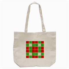 Christmas Fabric Textile Red Green Tote Bag (Cream)