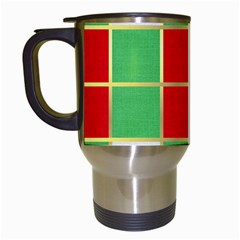 Christmas Fabric Textile Red Green Travel Mugs (White)
