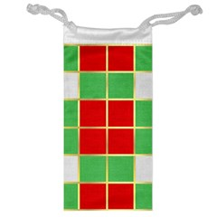 Christmas Fabric Textile Red Green Jewelry Bag