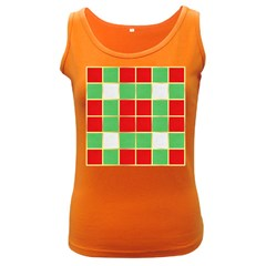 Christmas Fabric Textile Red Green Women s Dark Tank Top