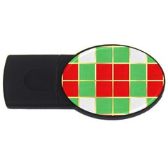 Christmas Fabric Textile Red Green USB Flash Drive Oval (4 GB)