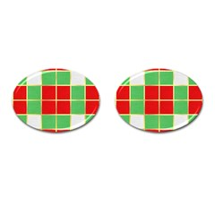 Christmas Fabric Textile Red Green Cufflinks (Oval)