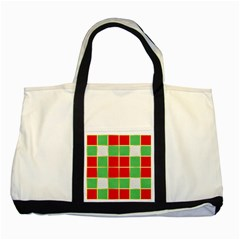 Christmas Fabric Textile Red Green Two Tone Tote Bag