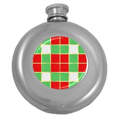 Christmas Fabric Textile Red Green Round Hip Flask (5 oz)