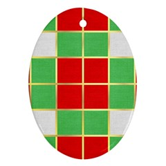 Christmas Fabric Textile Red Green Oval Ornament (Two Sides)