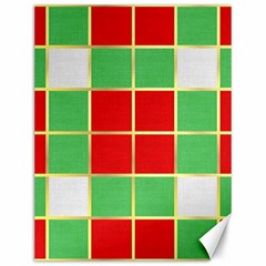 Christmas Fabric Textile Red Green Canvas 12  X 16