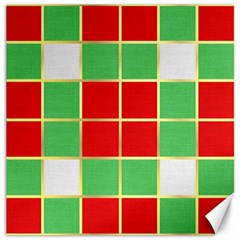 Christmas Fabric Textile Red Green Canvas 16  x 16