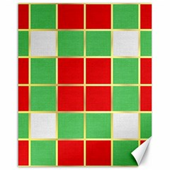 Christmas Fabric Textile Red Green Canvas 16  x 20