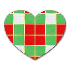 Christmas Fabric Textile Red Green Heart Mousepads