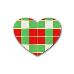 Christmas Fabric Textile Red Green Rubber Coaster (Heart)