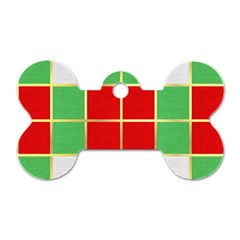 Christmas Fabric Textile Red Green Dog Tag Bone (One Side)
