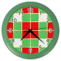 Christmas Fabric Textile Red Green Color Wall Clocks
