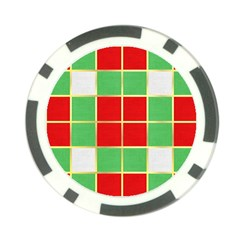 Christmas Fabric Textile Red Green Poker Chip Card Guard