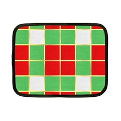 Christmas Fabric Textile Red Green Netbook Case (small)