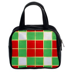 Christmas Fabric Textile Red Green Classic Handbags (2 Sides)