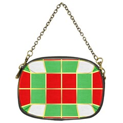 Christmas Fabric Textile Red Green Chain Purses (One Side)