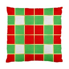 Christmas Fabric Textile Red Green Standard Cushion Case (One Side)